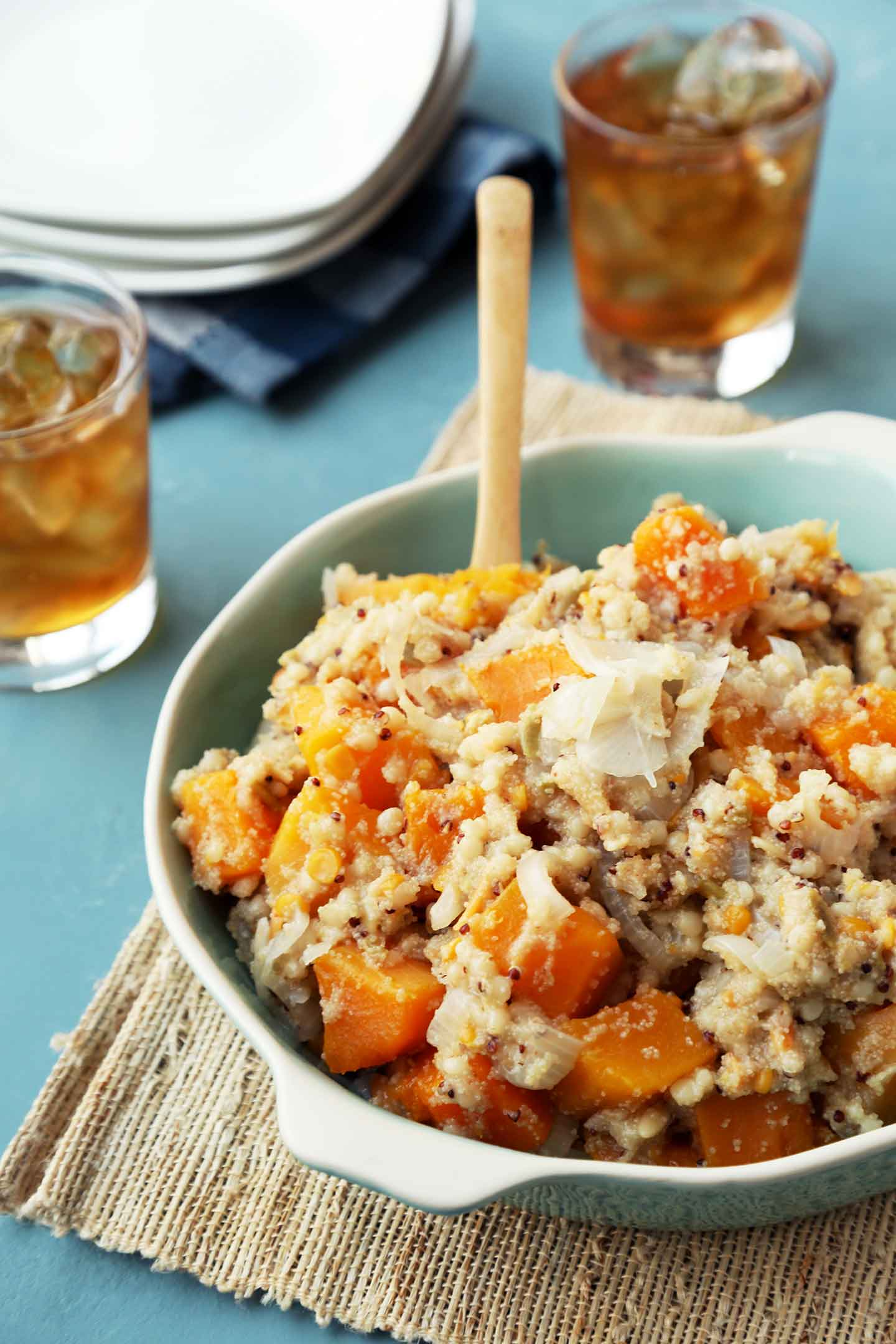 Millet and Teff with Squash and Onions