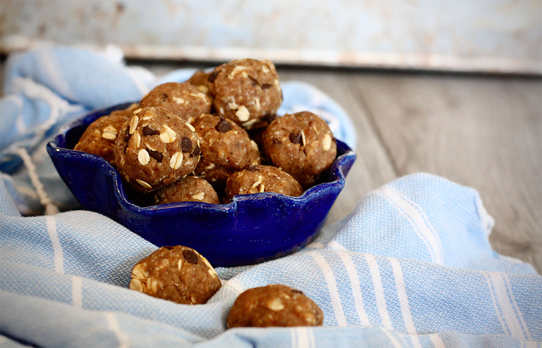 These chocolate chip cookie dough energy bites are gluten free and vegan