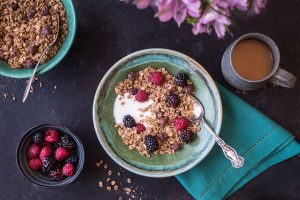 This vegan maple hazelnut granola is perfect with fruit and yogurt or as a snack.